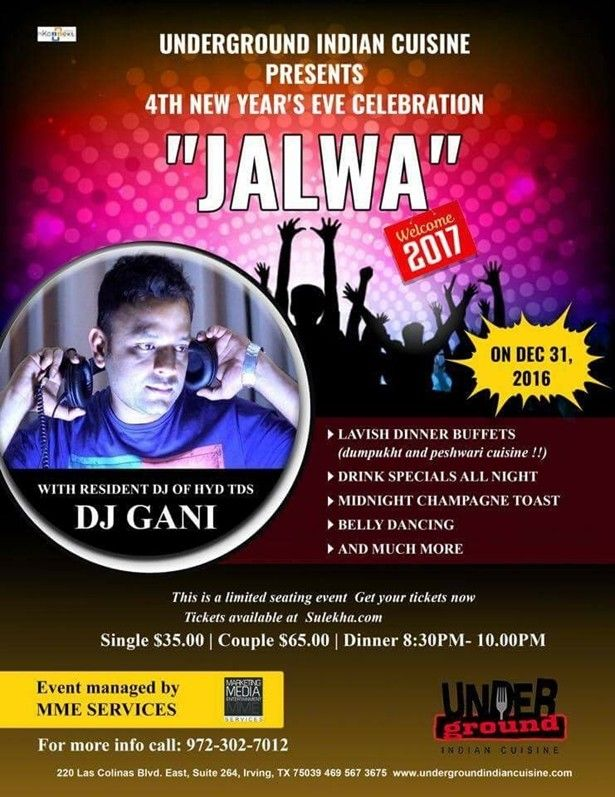Jalwa New Year Eve Irving Texas